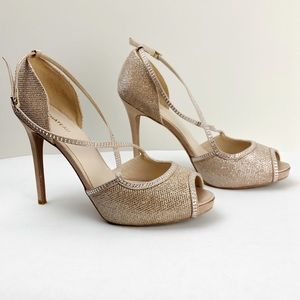 Le Chateau Nude Glitter Ankle Strap Heels